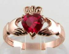DIVINE 9K ROSE GOLD INDIAN RUBY CLADDAGH  HEART RING FREE RESIZE