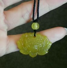natural jade lotus flower pendant handmade jade necklace love and lucky gift