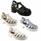 WOMENS LADIES CUT OUT STRAPY GLADIATOR BLOCK HEEL CHUNKY SUMMER SANDAL SHOE SIZE