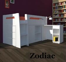 ZODIAC DELUXE KING SINGLE CABIN BUNK BED LOFT MIDI SLEEPER DESK DRAWERS IN WHITE