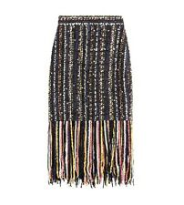 MSGM Boucle Tweed Tassel Fringe Pencil Skirt New