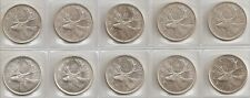 LOT OF 10 - 1968 SILVER CANADIAN/CANADA 25 CENT COINS CIRCULATED