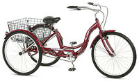 "Schwinn 26"" Adult Tricycle Bike 3 Big Wheel Trike Beach Cruiser Basket Red"