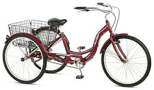 "Schwinn 26"" Adult Tricycle Bike 3 Big Wheel Trike Beach Cruiser Basket Red"