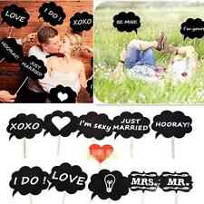 New Creative 10pcs/Set DIY Photo Booth Prop Wedding Black Card Chalkboard Stick