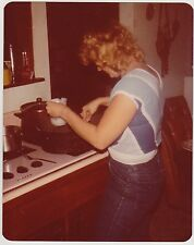 Vintage 80s PHOTO Woman Cooking Over Stove In Kitchen