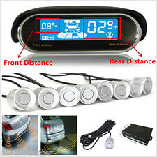 8 Silver Parking Sensor Dual-core Double LCD Display Car Reverse Radar Alarm Kit