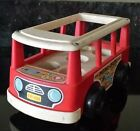 Vintage 1969 Fisher Price FP-141 Play Family Little People Red Mini Van Bus Rare