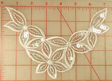 "12 white embroidered organza appliques with 5 flowers design AB sequins 8"" x 5"""