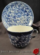 Antique Blue and White Spongeware Spatterware Ironstone Oversized Cup & Saucer