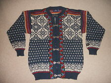 Mens Sweater-ICEWEAR-blue/white wool Nordic/Norwegian clasp cardigan-M