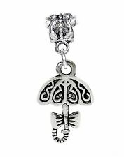 Umbrella Fancy Bow Parasol Rain Dangle Charm fits Silver European Bead Bracelets