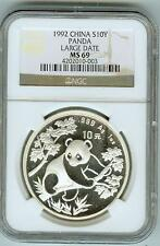 1992 China Silver 10Y Panda Large Date NGC Mint State 69