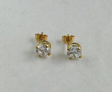 10k Yellow Gold 5mm Round CZ Stud Earrings~~Free Shipping!