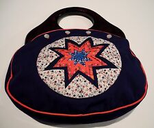 Handcrafted Dark Blue Octagonal Quilted Star Wood Handle Closure Handbag Purse