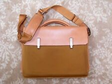 Piquadro Italy British Tan Leather and Canvas Modern Briefase Laptop Messenger