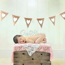 Vintage Burlap Linen Lace Bunting Rustic Shabby Chic Wedding Baby Shower Banner