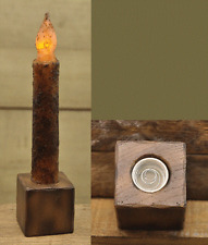 Resin Block Window Sill Candle Holder, Screw In Base for Battery Taper Candles