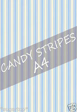 SHABBY CHIC CANDY STRIPES -  EDIBLE Rice Paper / Icing Cake Toppers A4 Sheet