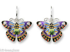 Zarah Zarlite Designer BUTTERFLY EARRINGS Enamel Silver Plated Dangle - Gift Box