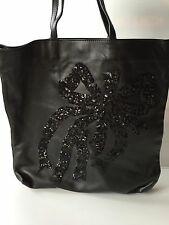 Red Valentino NEW Black Sequin Bow Leather Tote