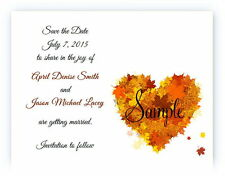 100 Personalized Custom Fall Autumn Heart Bridal Wedding Save The Date Cards