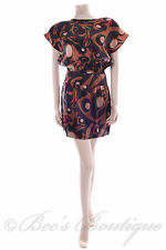 New Size 12 Papaya Black Brown Copper Gold Dress Summer Evening Party