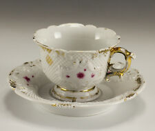 19th Century Porcelain footed Cup and Saucer - Meissen Raised spiral pattern