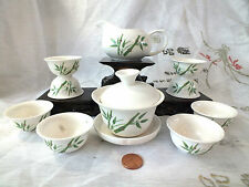 CHINESE JAPANESE BAMBOO WHITE S TEA SET 8 GUNGFU CUP BIRTHDAY PARTY W BOX A4