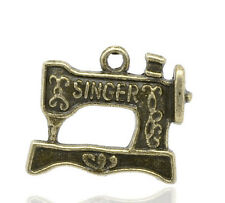 """6 Pc Antique Bronze Carved """"Singer"""" Sewing Machine Charm Pendants 18x20mm LC2821"""