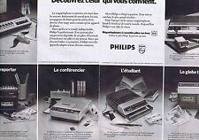 PUBLICITE ADVERTISING 045 1974 PHILIPs les magnétophones (2 pages)