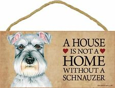 Schnauzer Wood Dog Sign Wall Plaque Photo Display 5 x 10 – House Is Not A Home