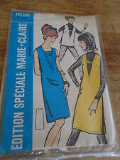 """ANCIEN PATRON  MARIE CLAIRE """"ROBE CHASUBLE OU TUNIQUE  T 36/40  1970"""