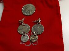 NWOT Uno de 50 Silvertone Coin-Like Earrings 1.5""