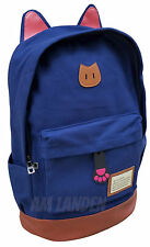 AM Landen Super Cute Light Weight Canvas CAT Ears Laptop Backpacks(Navy Blue)
