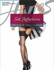Hanes Silk Reflections Lace Top Thigh-High Jet Black Stockings Size EF