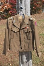 WWII Ike Jacket Military Green Wool Army Uniform Campaign Ribbons and Hat