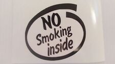 NO SMOKING INSIDE, CAR STICKER  DECAL,TRUCKS, 4X4, CARS,VANS,CAMPERVANS,VW