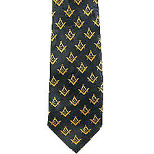 Masonic Neck Tie - Black Yellow Polyester small duplicated Freemason pattern