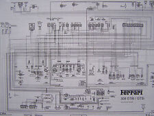 FERRARI 1981-82 308 GTSi-GTBi RELAYS DIAGRAM BLACK/WHITE FREE SHIPPING