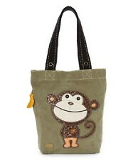 New Chala Handbag Simple Tote MONKEY Olive Green  Purse Bag Canvas gift