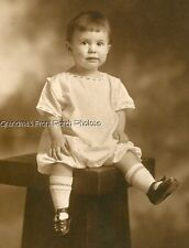 DARLING LITTLE DARK HAIRED GIRL SITTING ON STOOL ANTIQUE PHOTO SEPIA