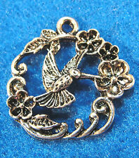 10Pcs. Tibetan Silver Nice BIRD FLOWER Charms Pendants Earring Drops BD112