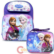 """Frozen Elsa Anna 16"""" Large School Backpack Lunch Bag 2pc Set Ice Snowflakes"""