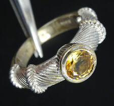 STUNNING JUDITH RIPKA STERLING SILVER w/ CITRINE SOLITAIRE CABLE RING ~ sz 5.5