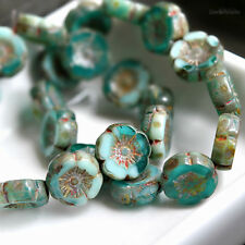 6 Ocean Breeze - Czech Glass, Aqua, Turquoise, Small Hawaiian Flower Beads 12mm
