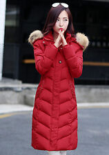 Women's Long Slim hooded red Down coat fur warm padded jacket size M UK 10