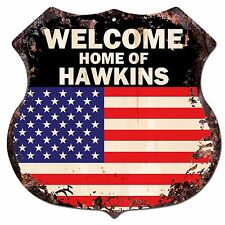 BP0435 WELCOME HOME OF HAWKINS Family Name Shield Chic Sign Home Decor Gift