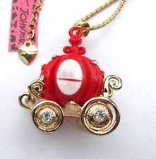 Betsey Johnson Flashes crystal Red pumpkin carriage pendant Necklace