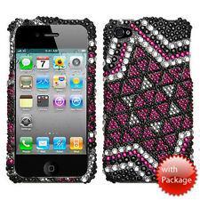 For Apple iPhone 4 4S Crystal Diamond BLING Hard Case Snap Phone Cover Solitaire